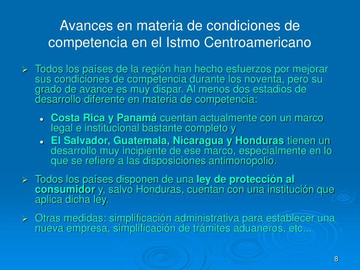 Avances en materia de condiciones de competencia en el Istmo Centroamericano