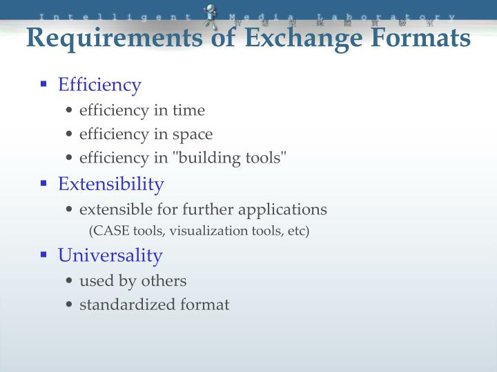 Requirements of Exchange Formats