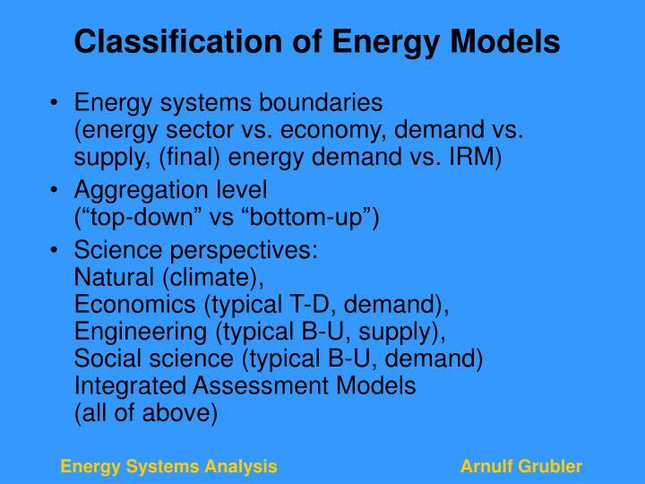 Classification of Energy Models
