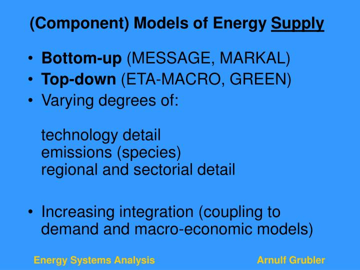 (Component) Models of Energy