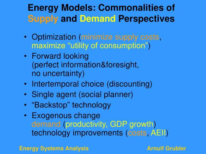 Energy Models: Commonalities of