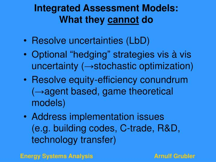 Integrated Assessment Models: