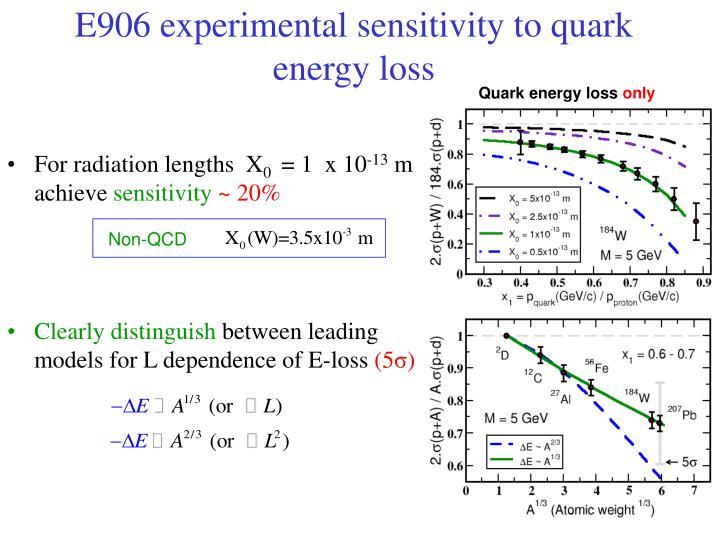 E906 experimental sensitivity to quark energy loss