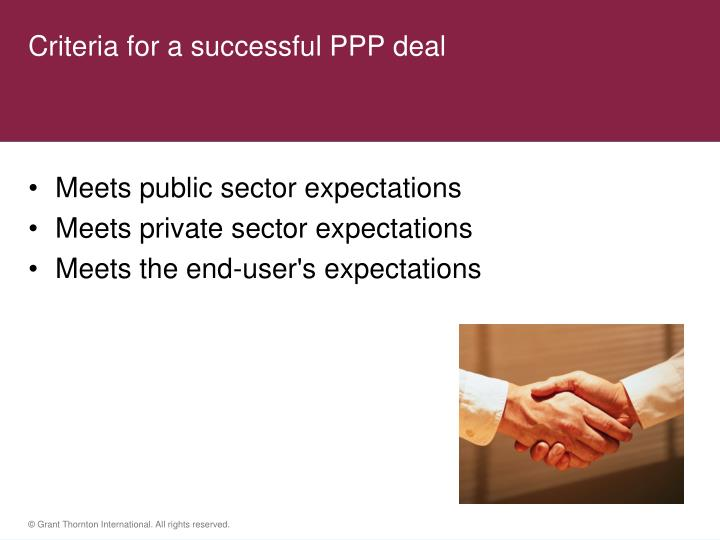 Criteria for a successful PPP deal