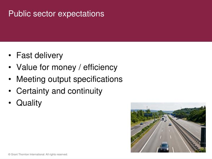 Public sector expectations