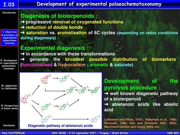 Development of experimental palaeochemotaxonomy