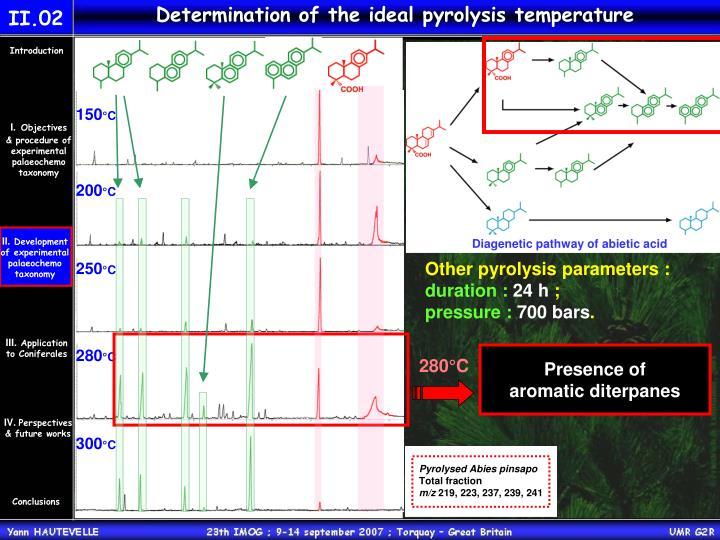 Determination of the ideal pyrolysis temperature