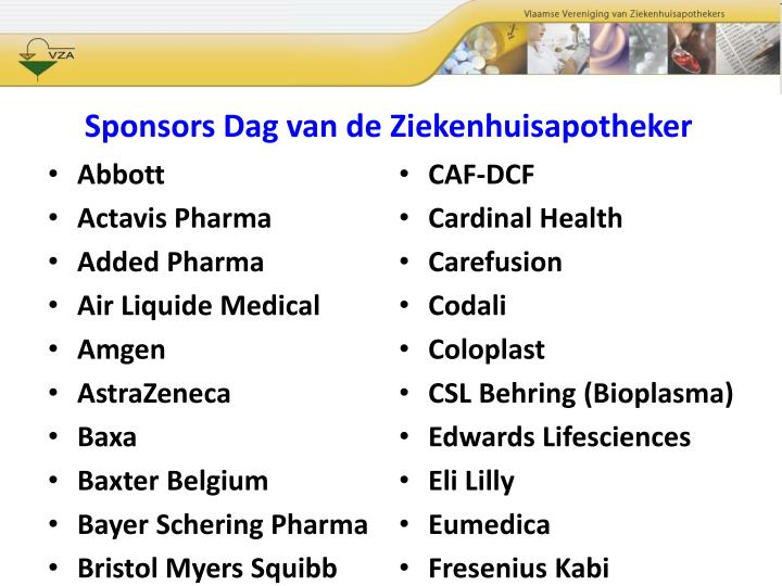 Sponsors Dag van de Ziekenhuisapotheker