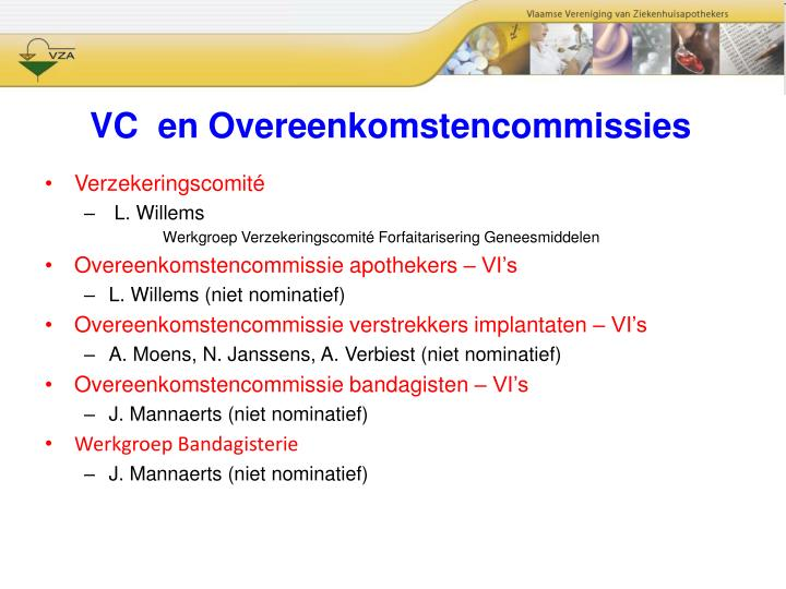 VC  en Overeenkomstencommissies