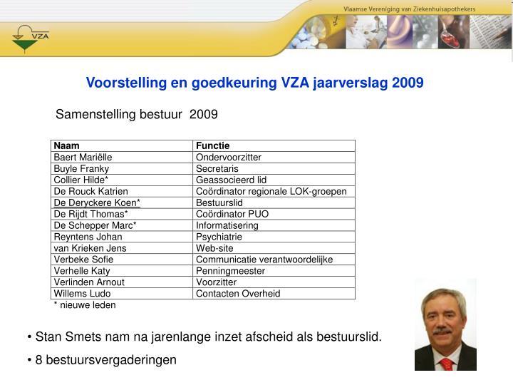 Voorstelling en goedkeuring VZA jaarverslag 2009