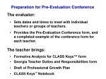 preparation for pre evaluation conference
