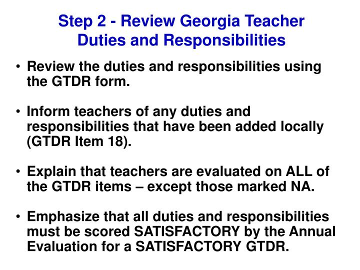 Step 2 - Review Georgia Teacher Duties and Responsibilities
