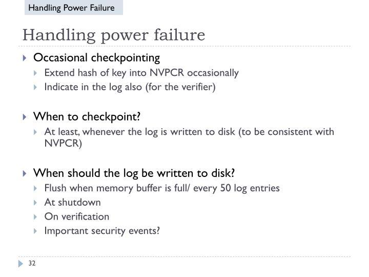Handling Power Failure