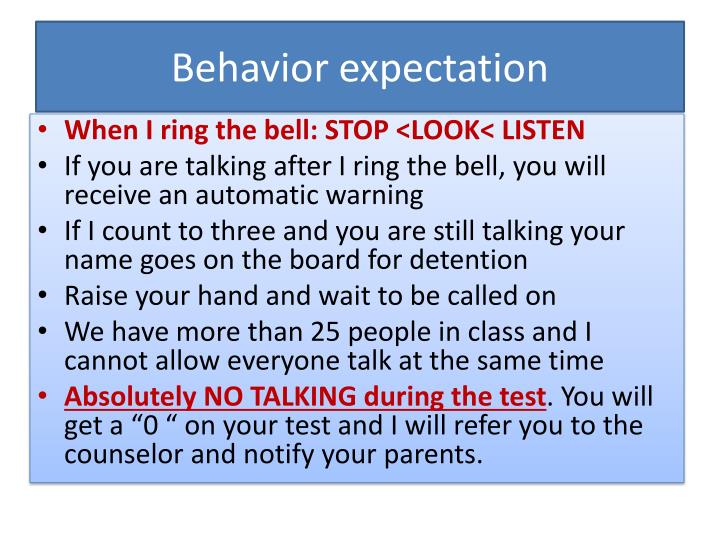 Behavior expectation