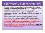 expectation and procedures