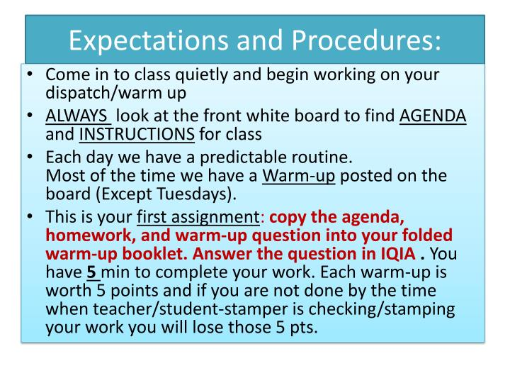 Expectations and Procedures: