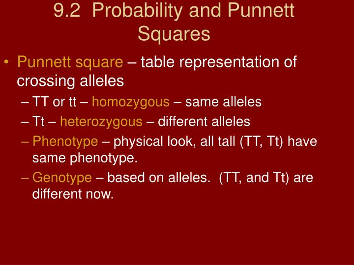 9.2  Probability and Punnett Squares