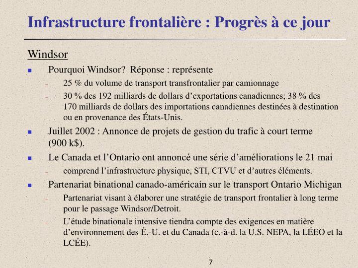 Infrastructure frontalière : Progrès à ce jour