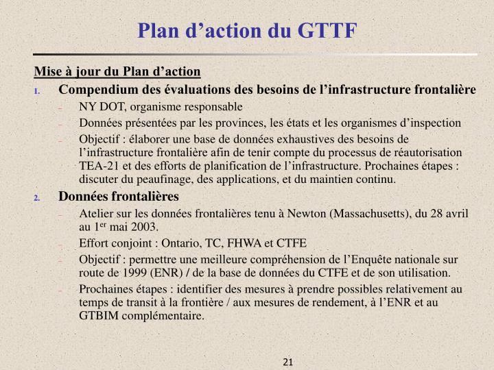 Plan d'action du GTTF