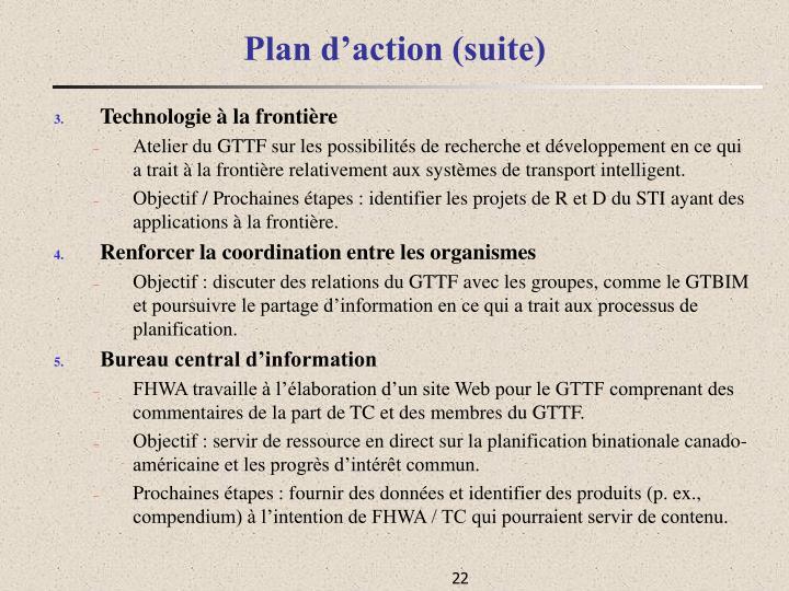 Plan d'action (suite)