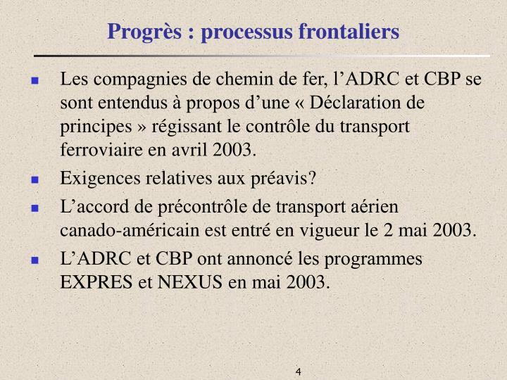 Progrès : processus frontaliers