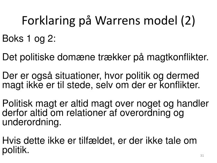 Forklaring på Warrens model (2)