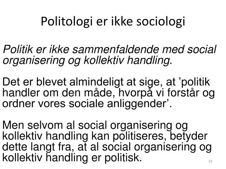 Politologi er ikke sociologi