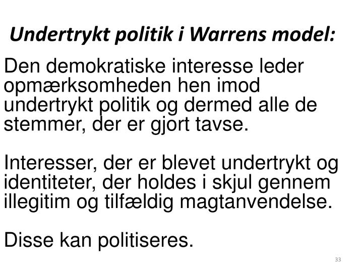 Undertrykt politik i Warrens model: