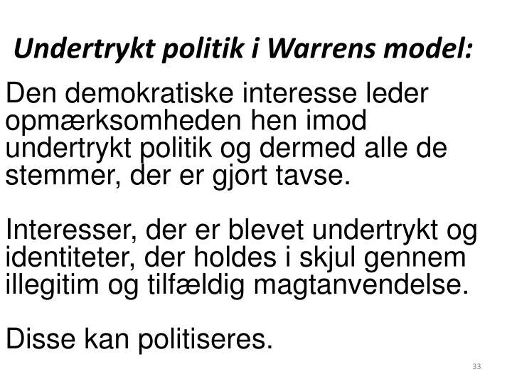Undertrykt politik i Warrens model: