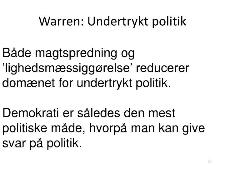 Warren: Undertrykt politik