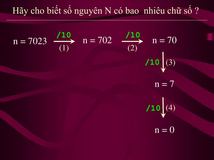 Hãy cho biết số nguyên N có bao  nhiêu chữ số ?