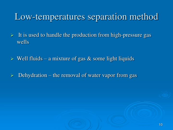Low-temperatures separation method