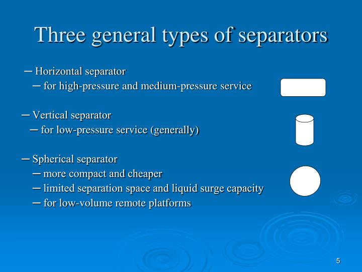 Three general types of separators