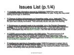 issues list p 1 4