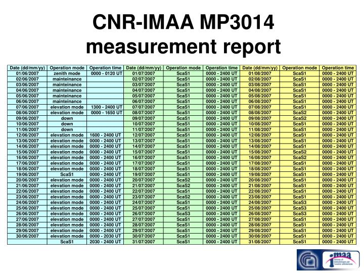 Cnr imaa mp3014 measurement report