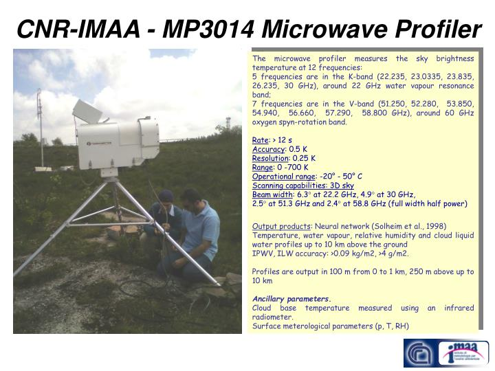 Cnr imaa mp3014 microwave profiler
