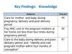 key findings knowledge