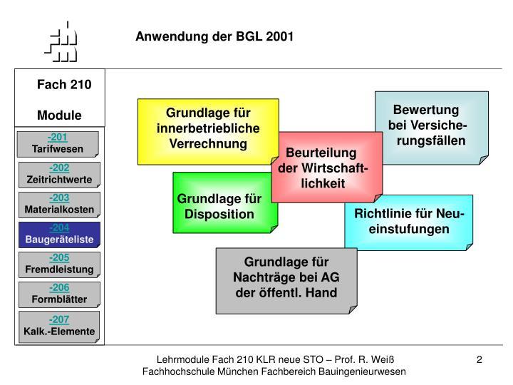 Anwendung der BGL 2001