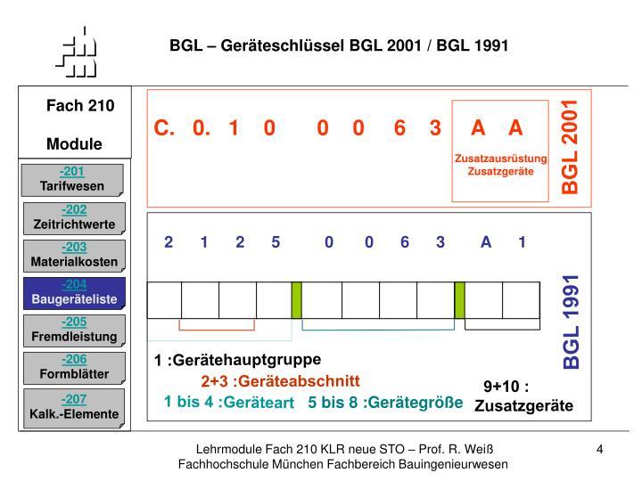 BGL – Geräteschlüssel BGL 2001 / BGL 1991