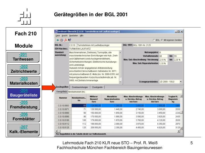 Gerätegrößen in der BGL 2001