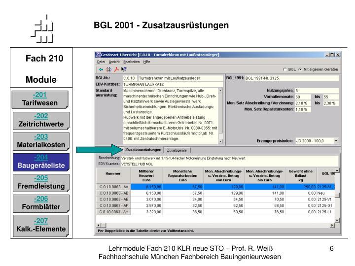 BGL 2001 - Zusatzausrüstungen