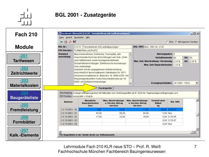 BGL 2001 - Zusatzgeräte