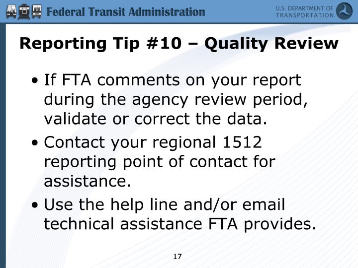 Reporting Tip #10 – Quality Review