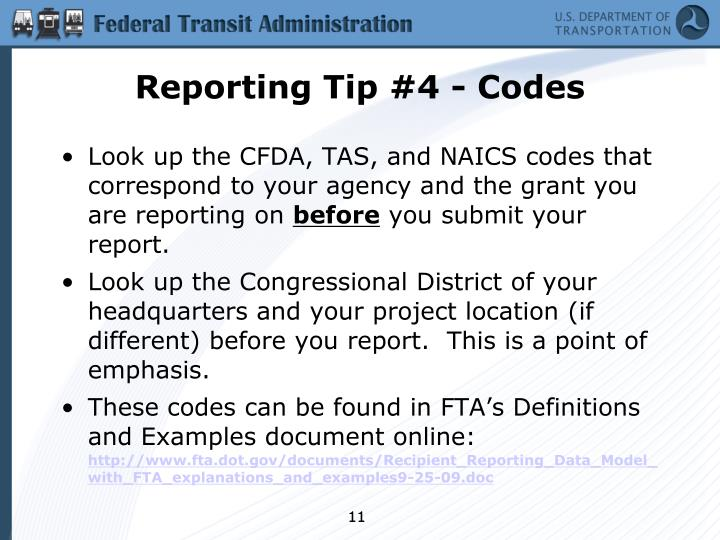 Reporting Tip #4 - Codes
