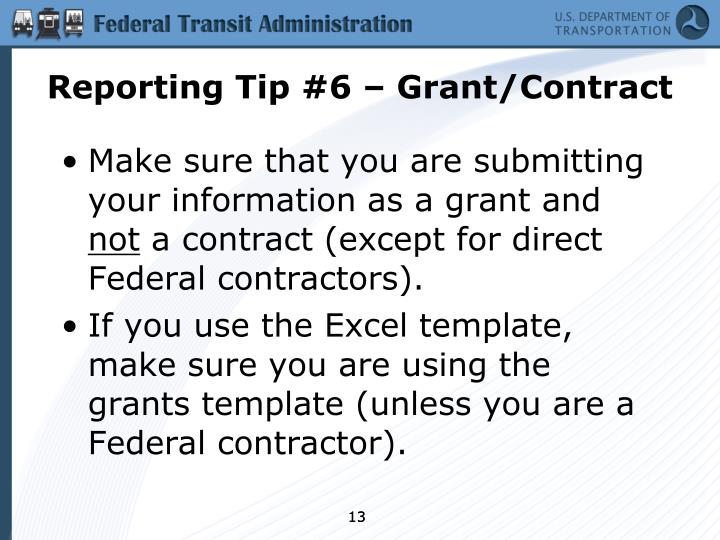 Reporting Tip #6 – Grant/Contract