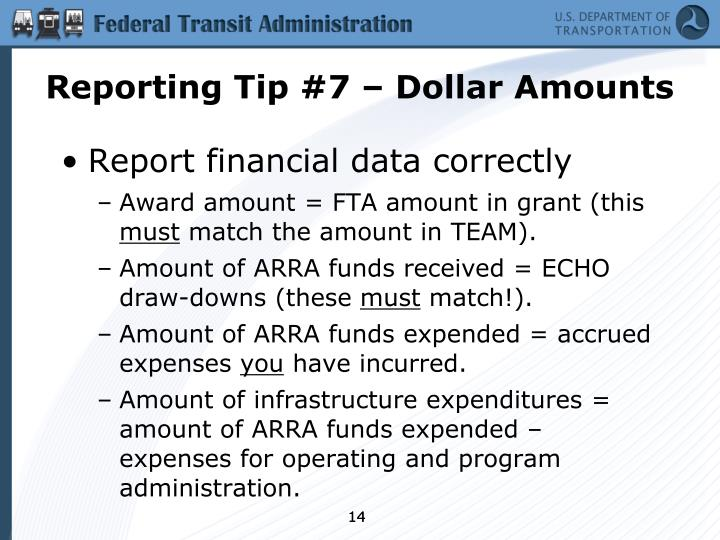 Reporting Tip #7 – Dollar Amounts