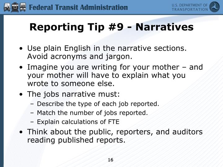 Reporting Tip #9 - Narratives