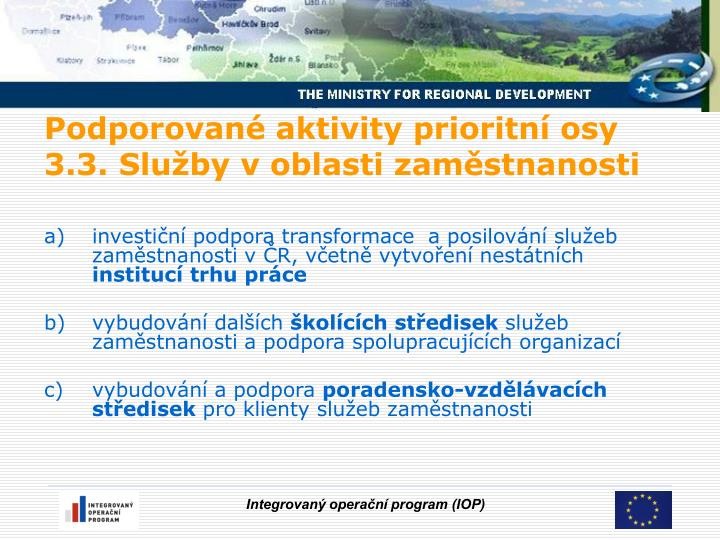 investiční podpora transformace  a posilování služeb zaměstnanosti v ČR, včetně vytvoření nestátních
