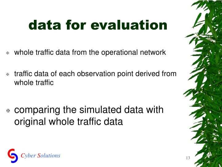data for evaluation