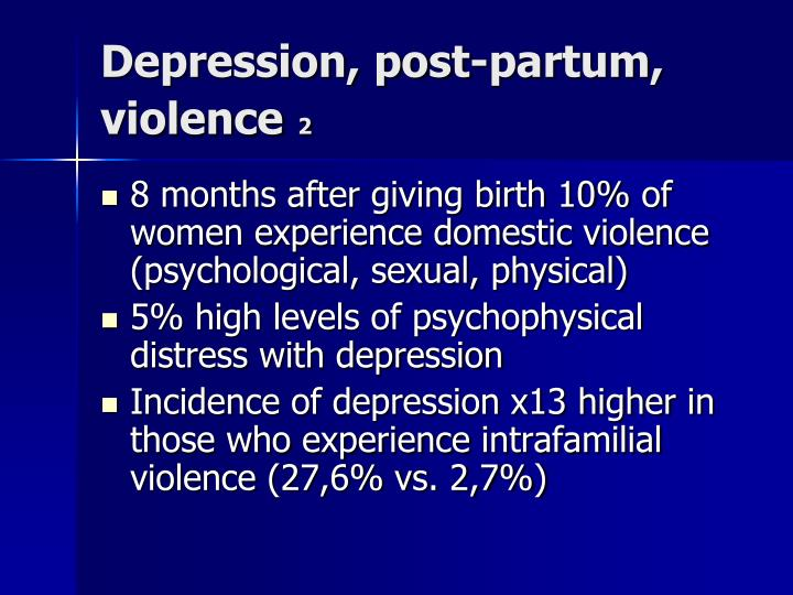Depression, post-partum, violence